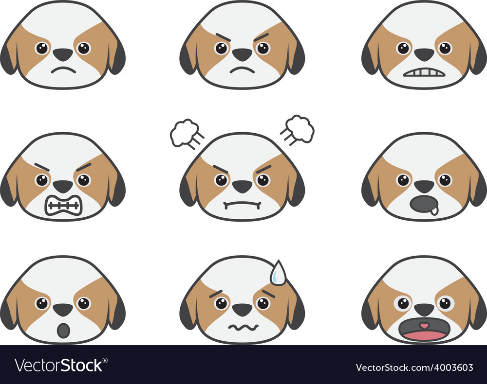 Shih Tzu cartoon emotion