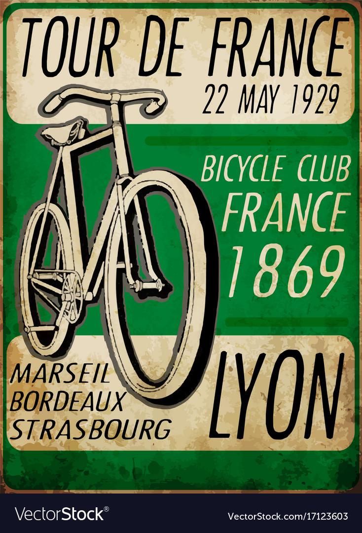 Sketch Bicycle Tour De France Poster Vintage Bike Vector Image