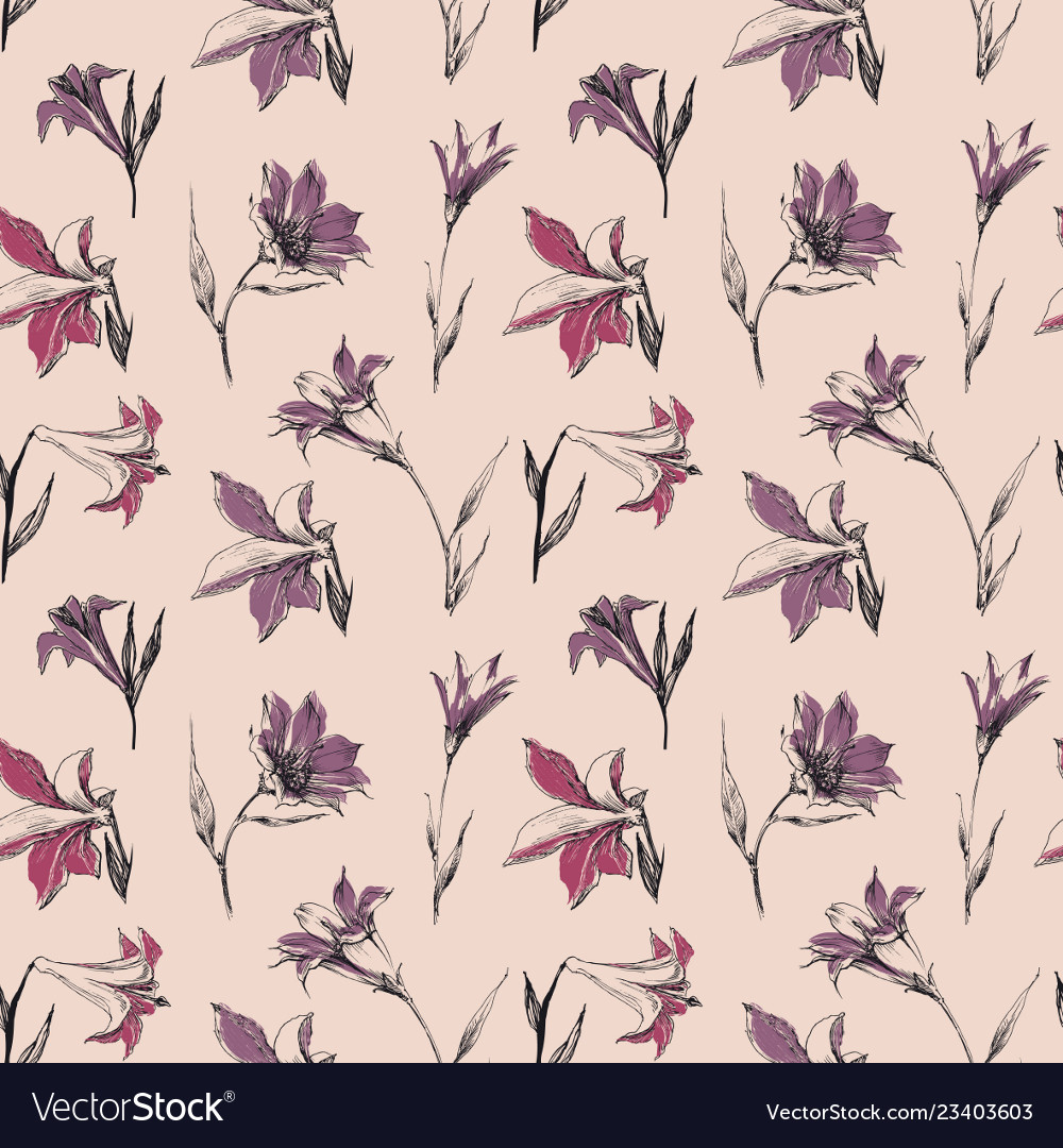 Small spring flowers in retro colors seamless