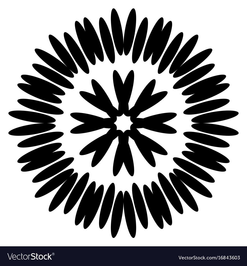 Symmetrical black aster circular pattern