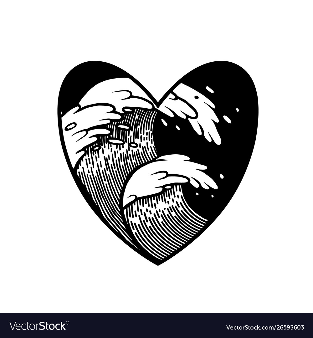 Water waves in water with heart frame tattoo