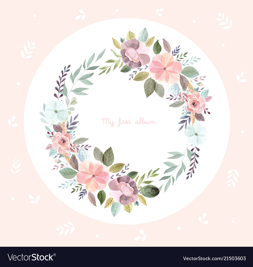 Watercolor with floral wreath