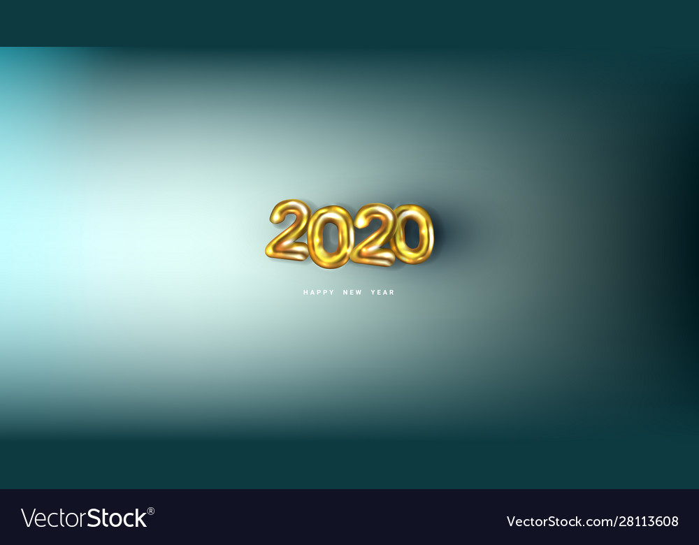 3d happy new 2020 year golden numbers poster