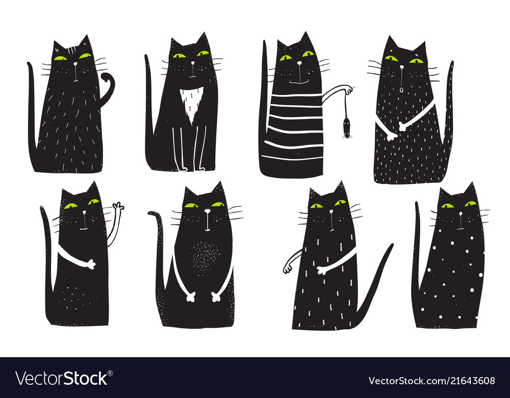Black cats clip art set