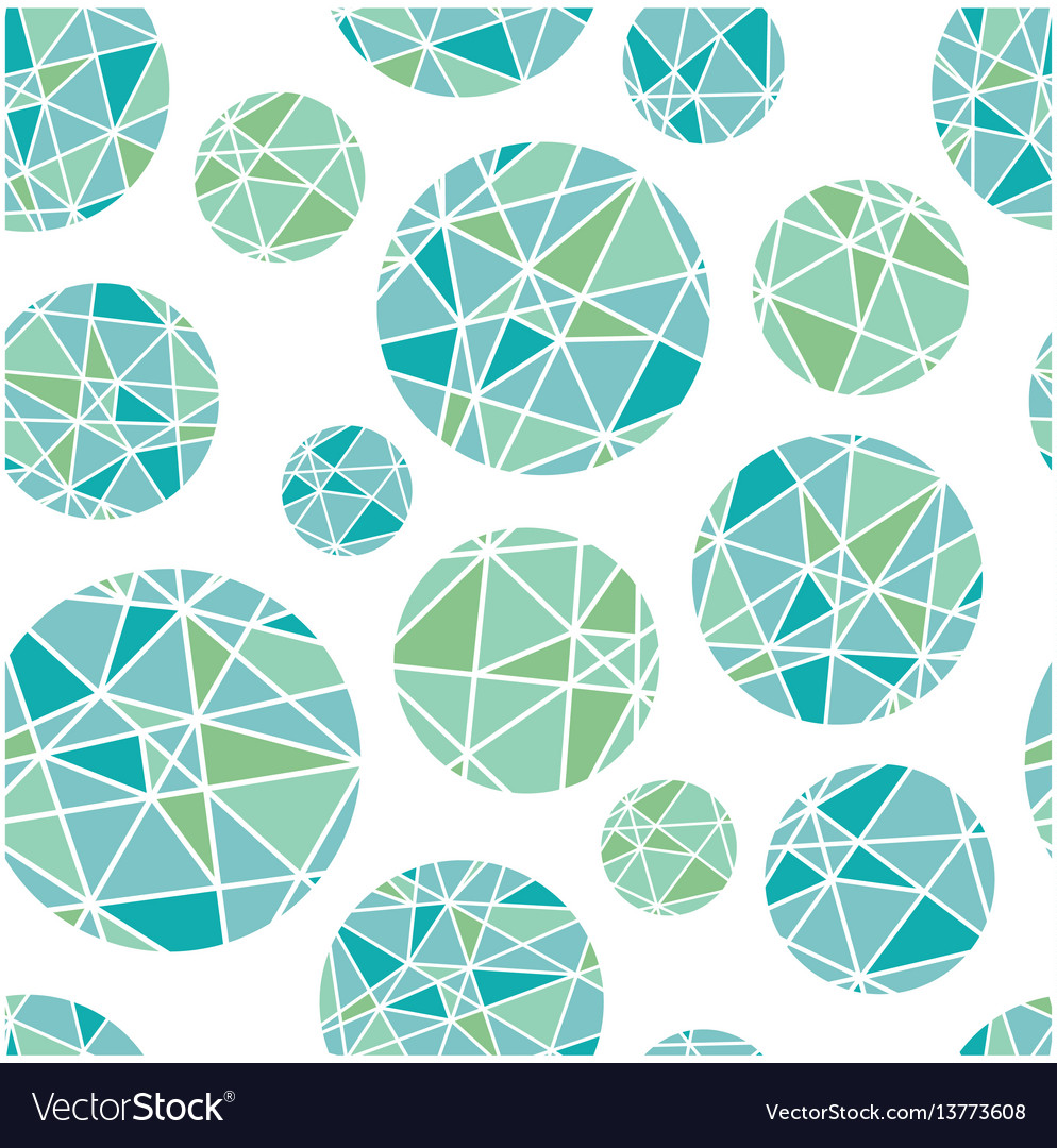 Blue green geometric mosaic circles