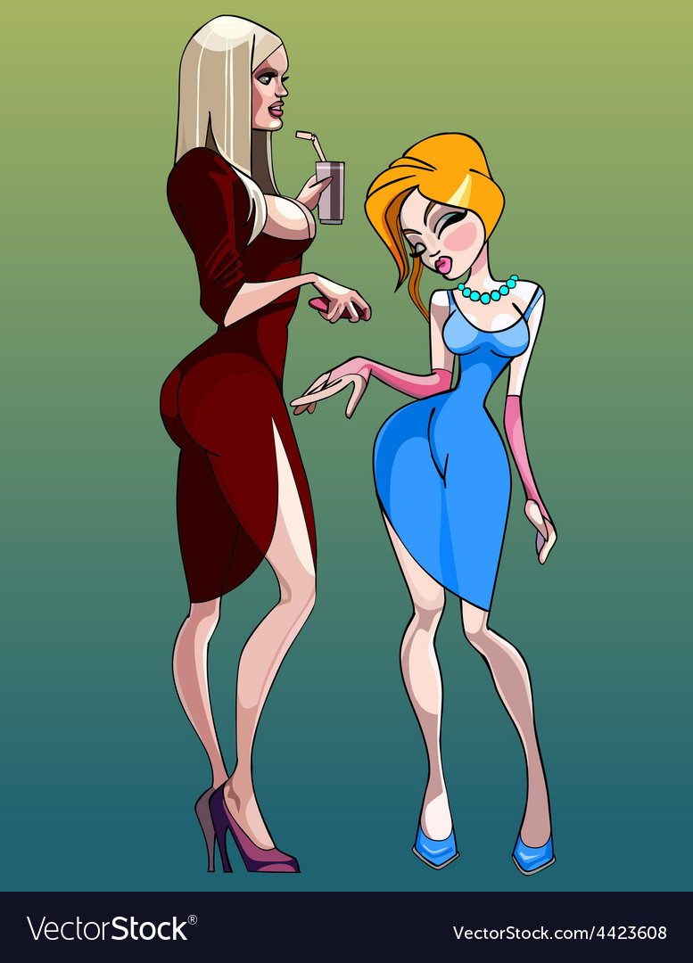 Cartoon of two women at a party