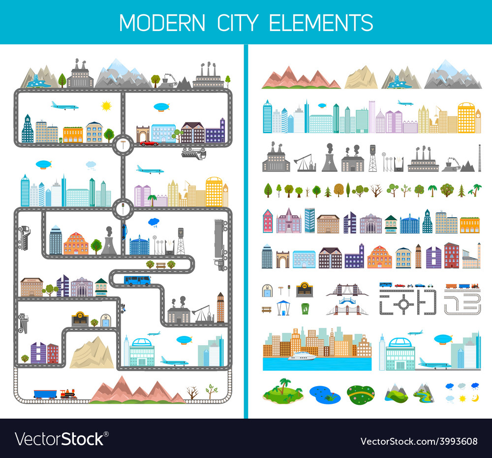 Elements of the modern city or village