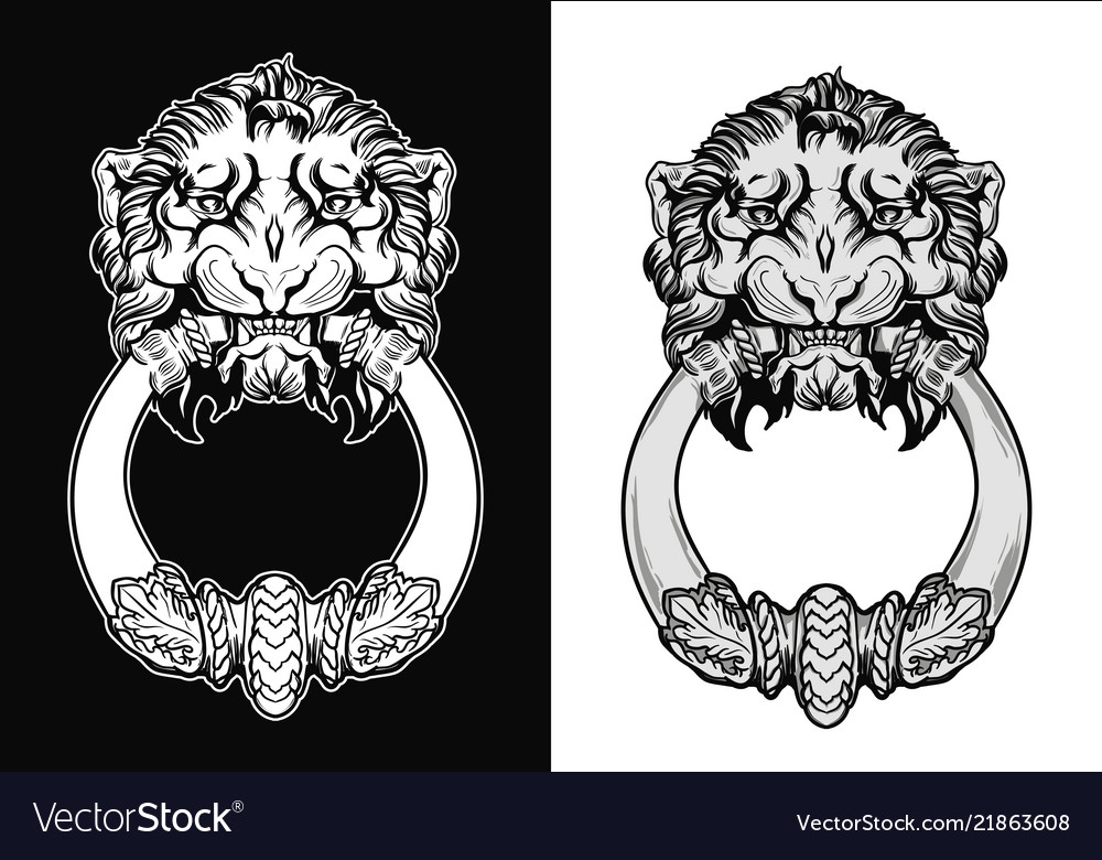 Engraved Lion Head Door Knocker Hand Drawn Vector Image