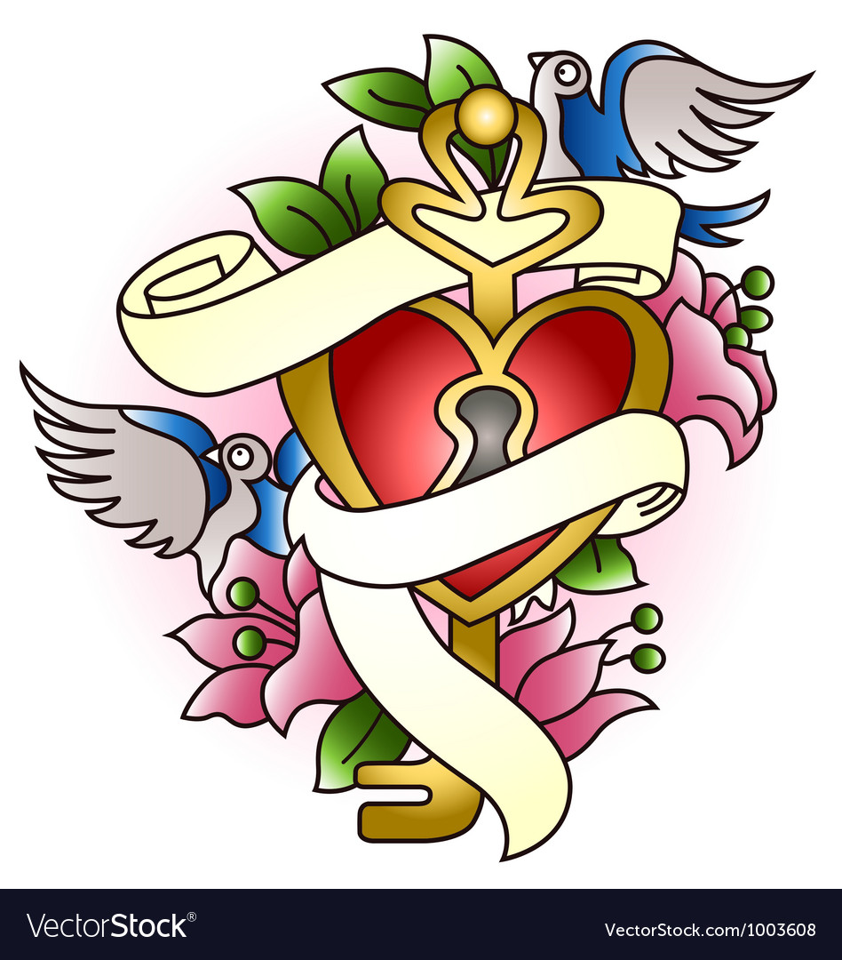 Floral heart with bird tattoo