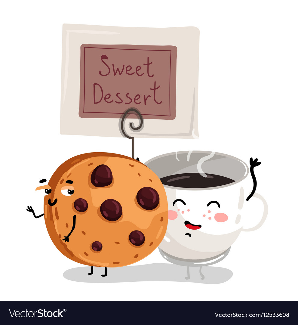 Funny chocolate chip cookie and coffee cup vector image