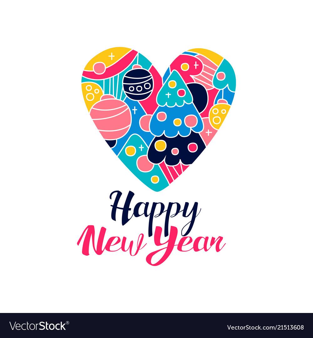 Happy new year logo creative template wig heart