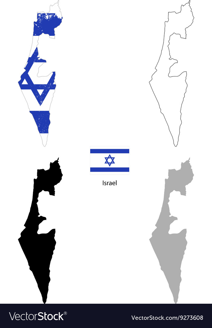 Israel country black silhouette and with flag on