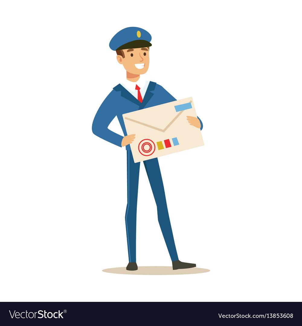 Postman in blue uniform delivering mail holding