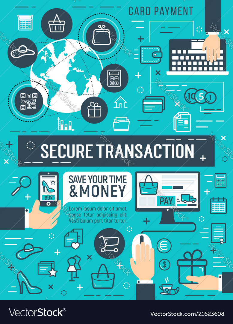 Secure Online Money Transaction Poster Vector Image