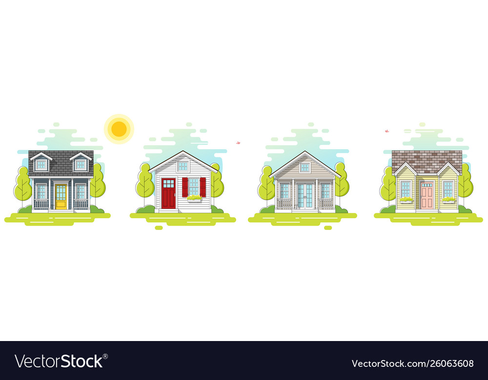 Set small houses in flat line art style