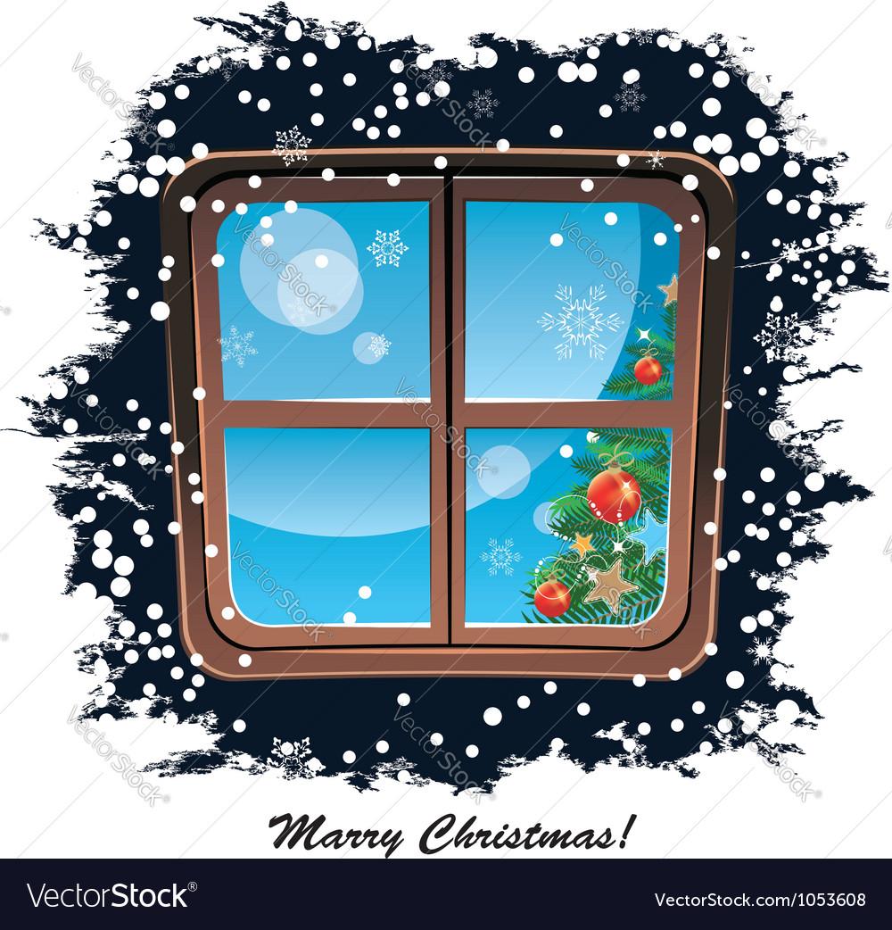 Window snowy night Christmas background