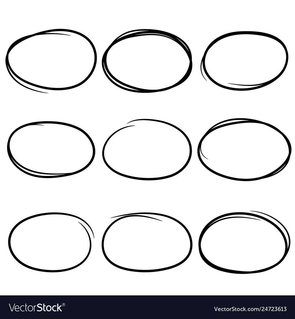 Black and drawn scribble circles marker elements