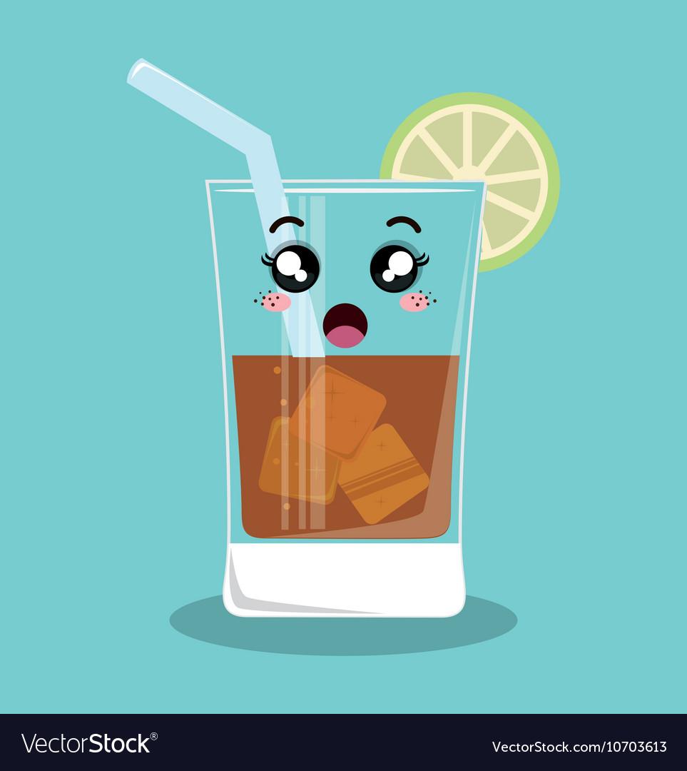 Cartoon glass beverage drink lemon design isolated