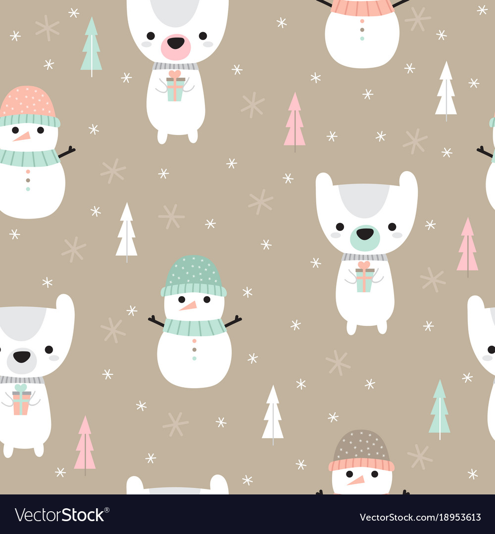 Christmas seamless pattern with cartoon bear and vector image