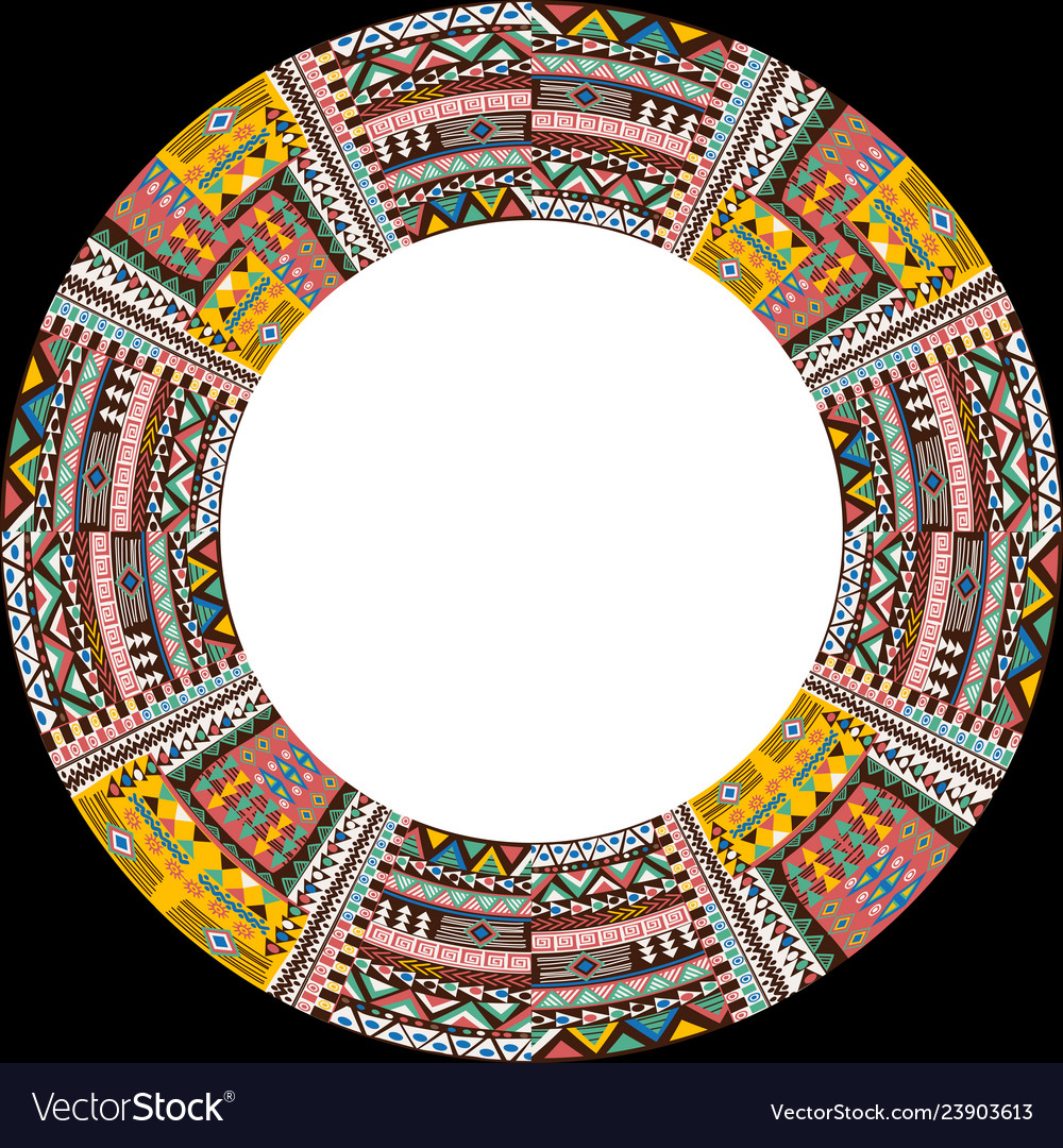 Circular frame with african ethnic motifs