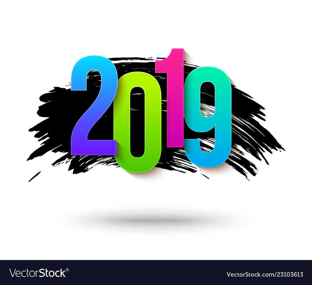 Colorful 2019 numbers background for happy new