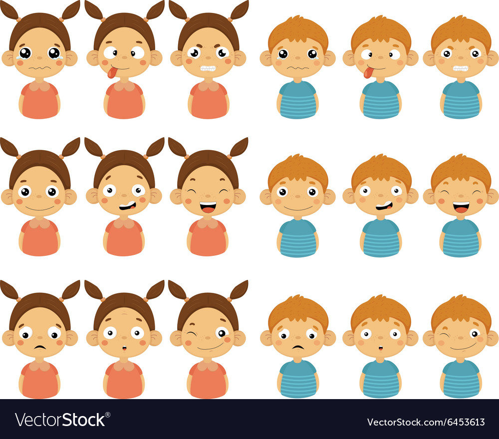 Cute Girl and Boy Faces Showing Different Emotions