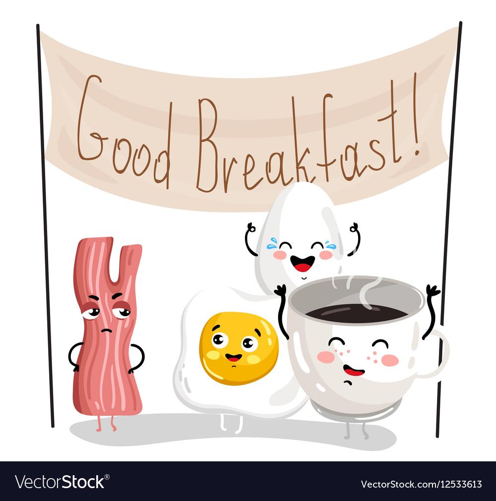 Funny Breakfast Cartoon Character Set Royalty Free Vector