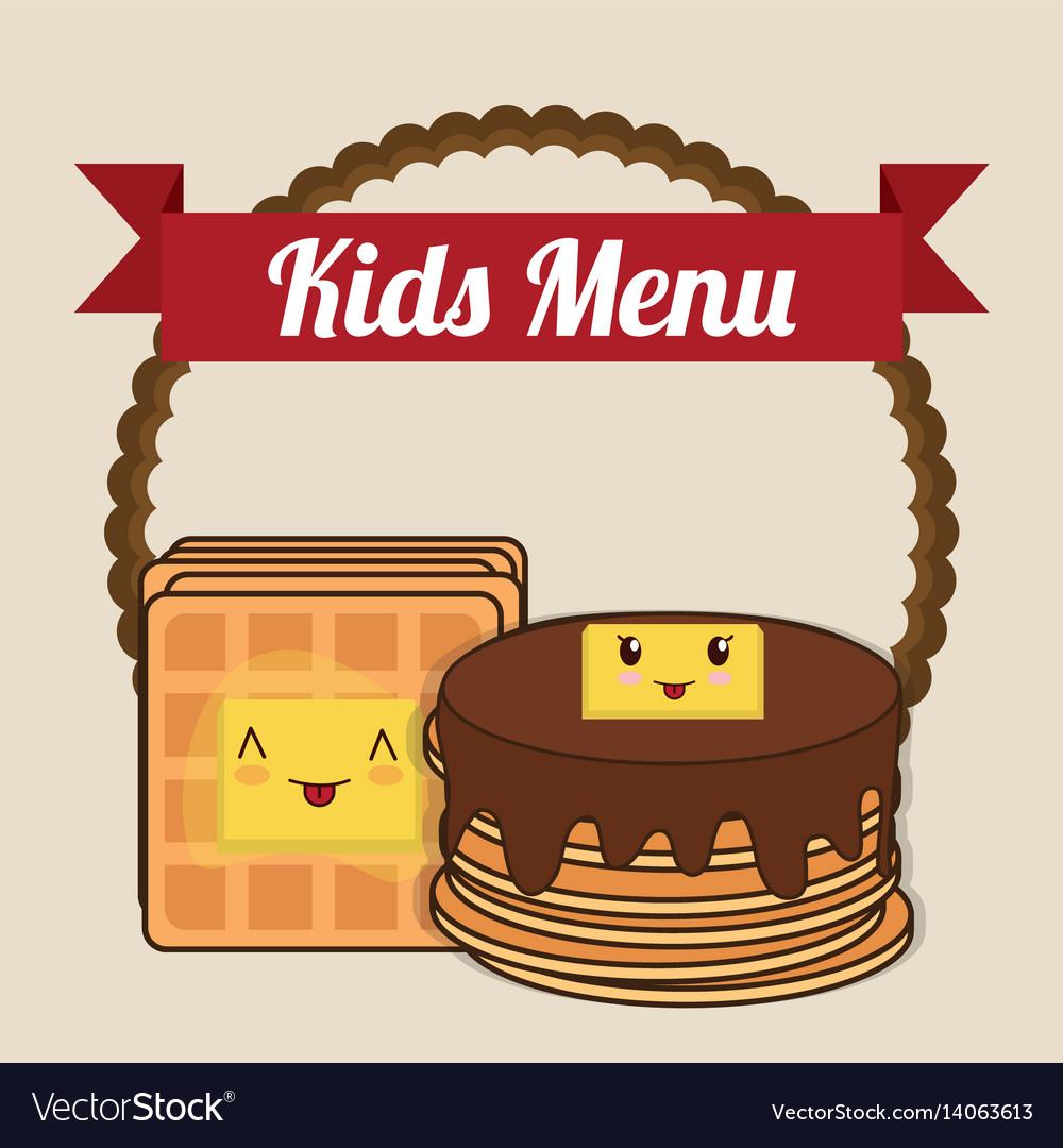 Kids menu pancake syrup butter vector image