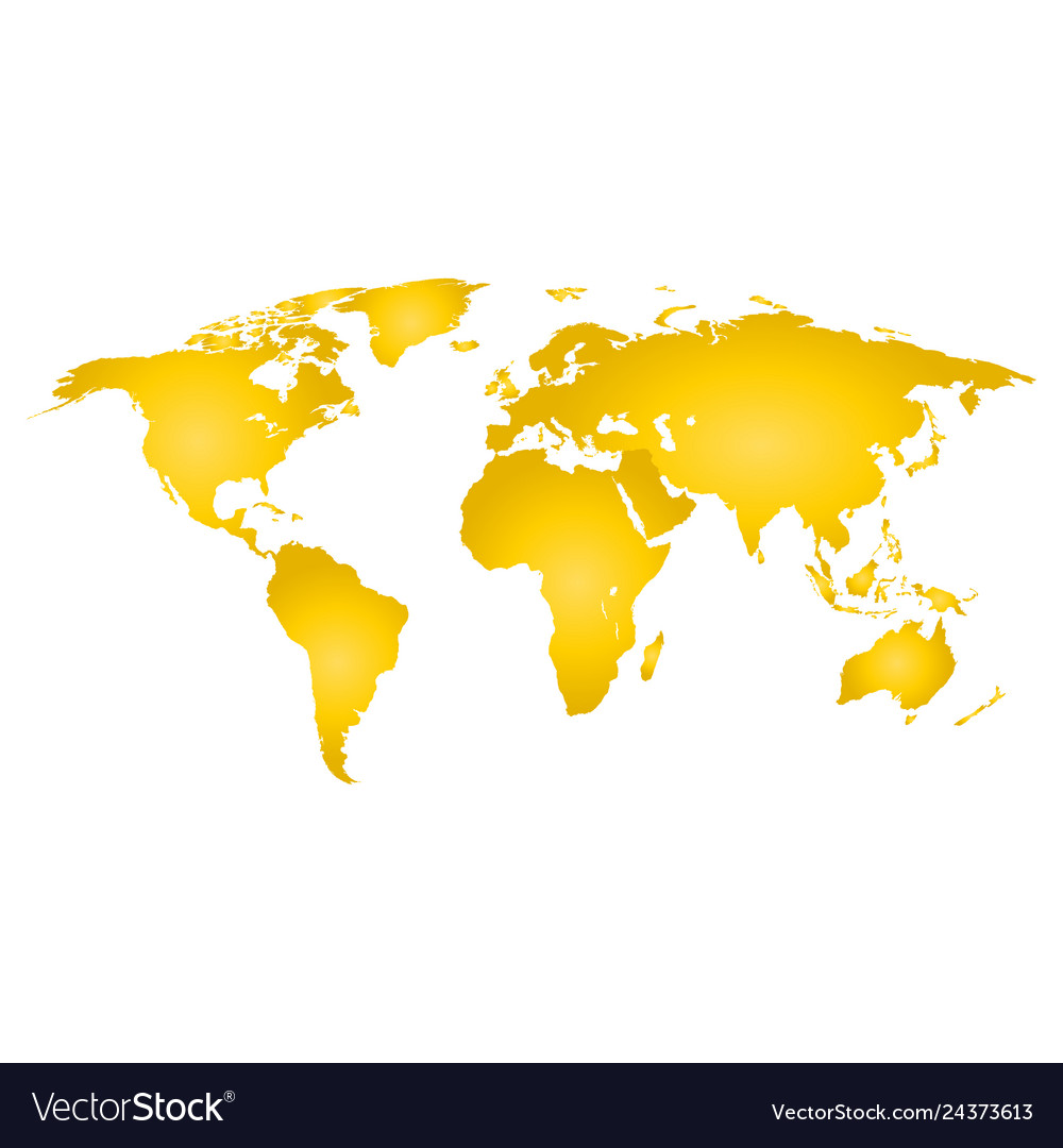 Map of the earth gold color on a white background