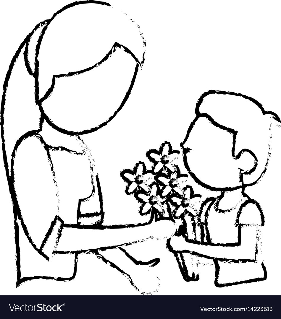 Sketch mother and son bouquet flowers vector image