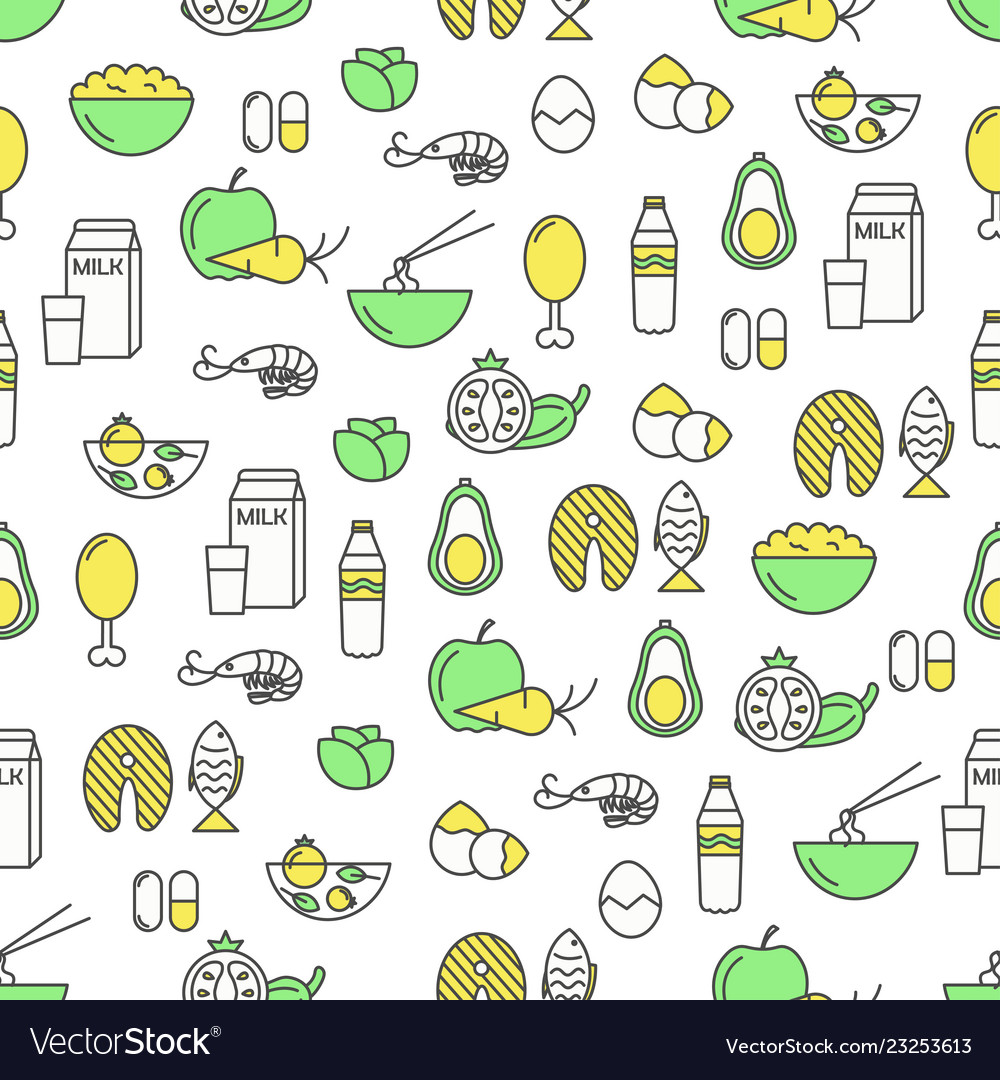 Thin line art proper food seamless pattern