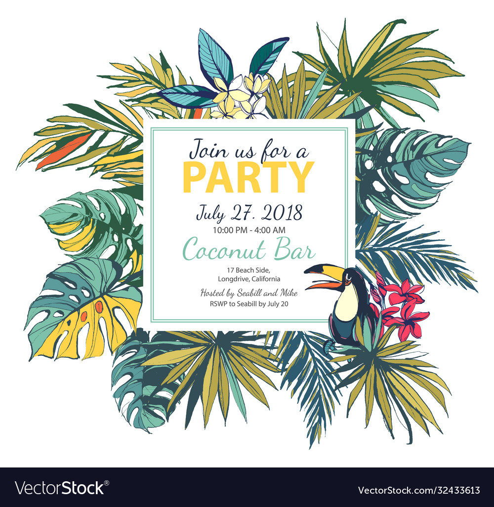 Tropical floral summer party poster with pal