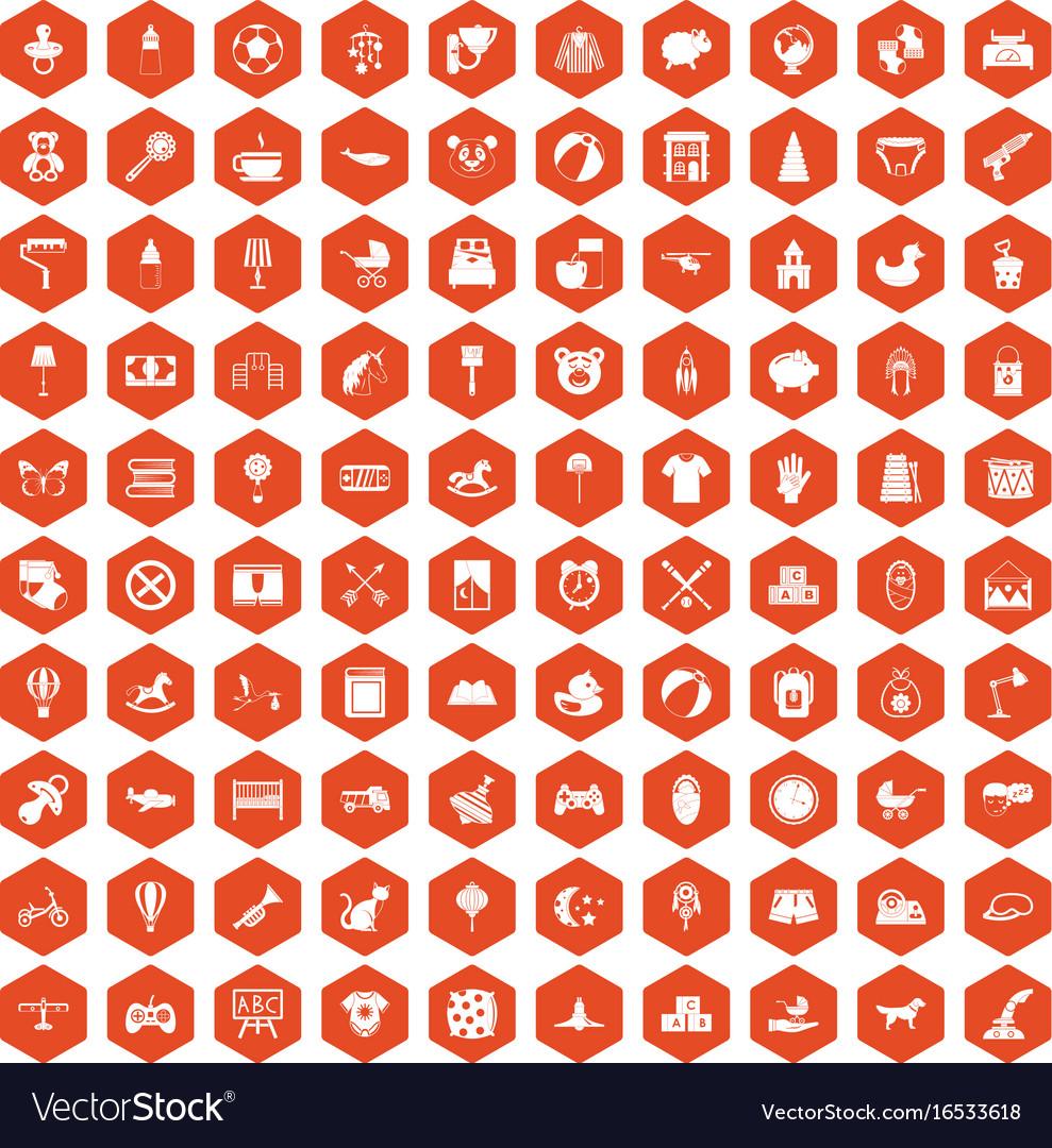 100 nursery icons hexagon orange