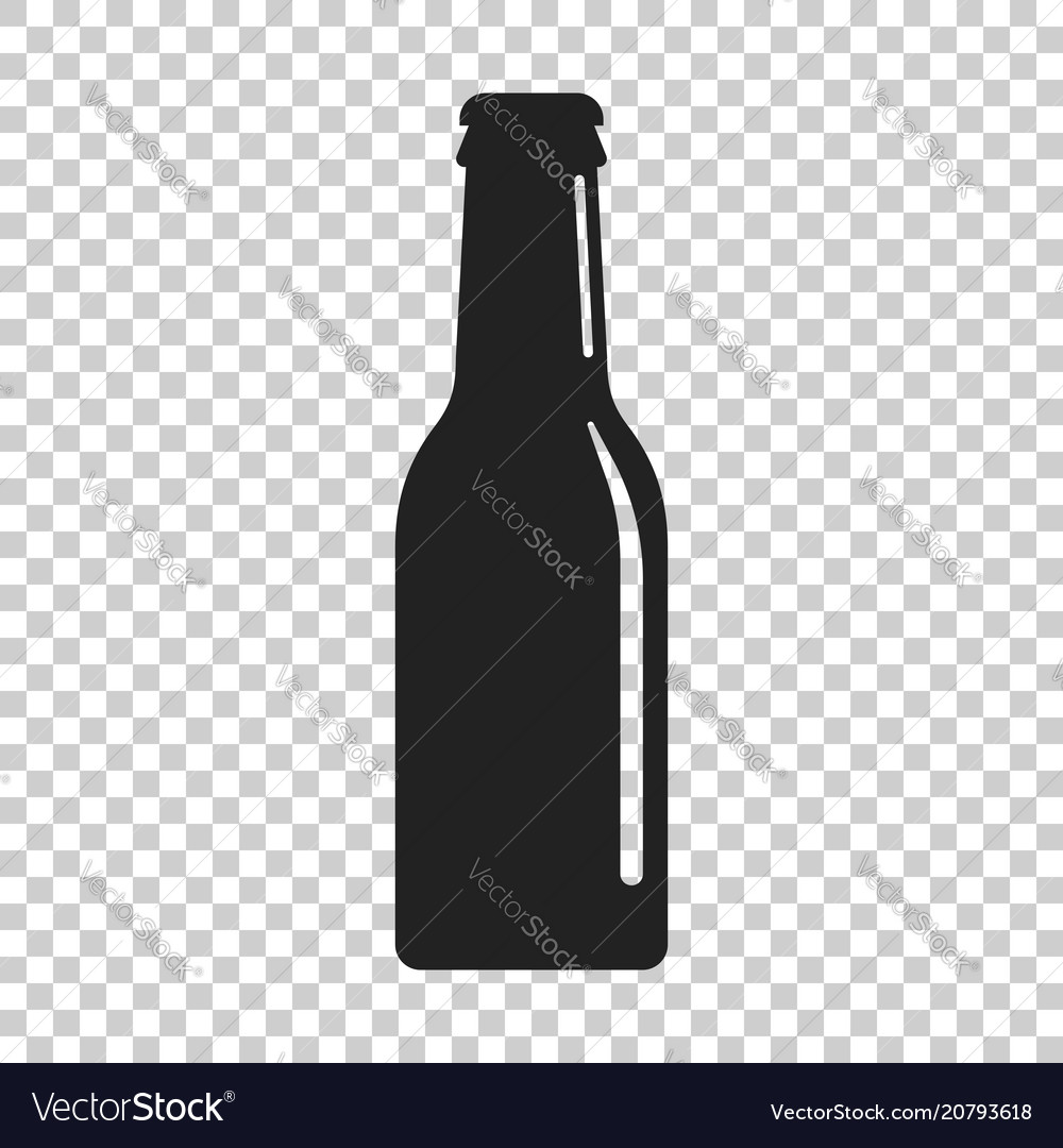 Beer bottle icon in flat style alcohol bottle on