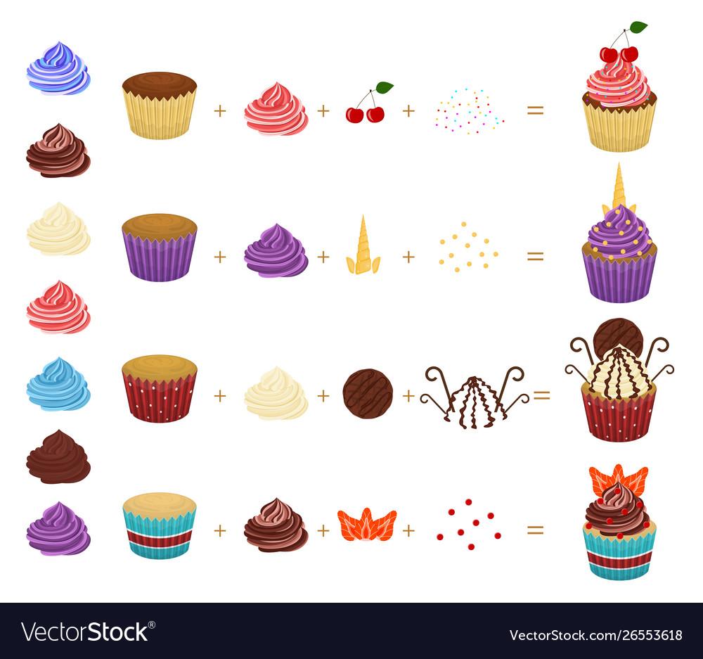 Cartoon color create your cupcake concept icon set