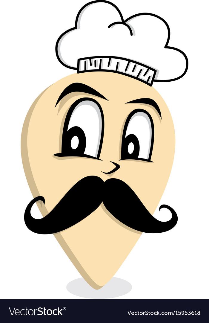 Chef mustache gentleman map pin locator vector image