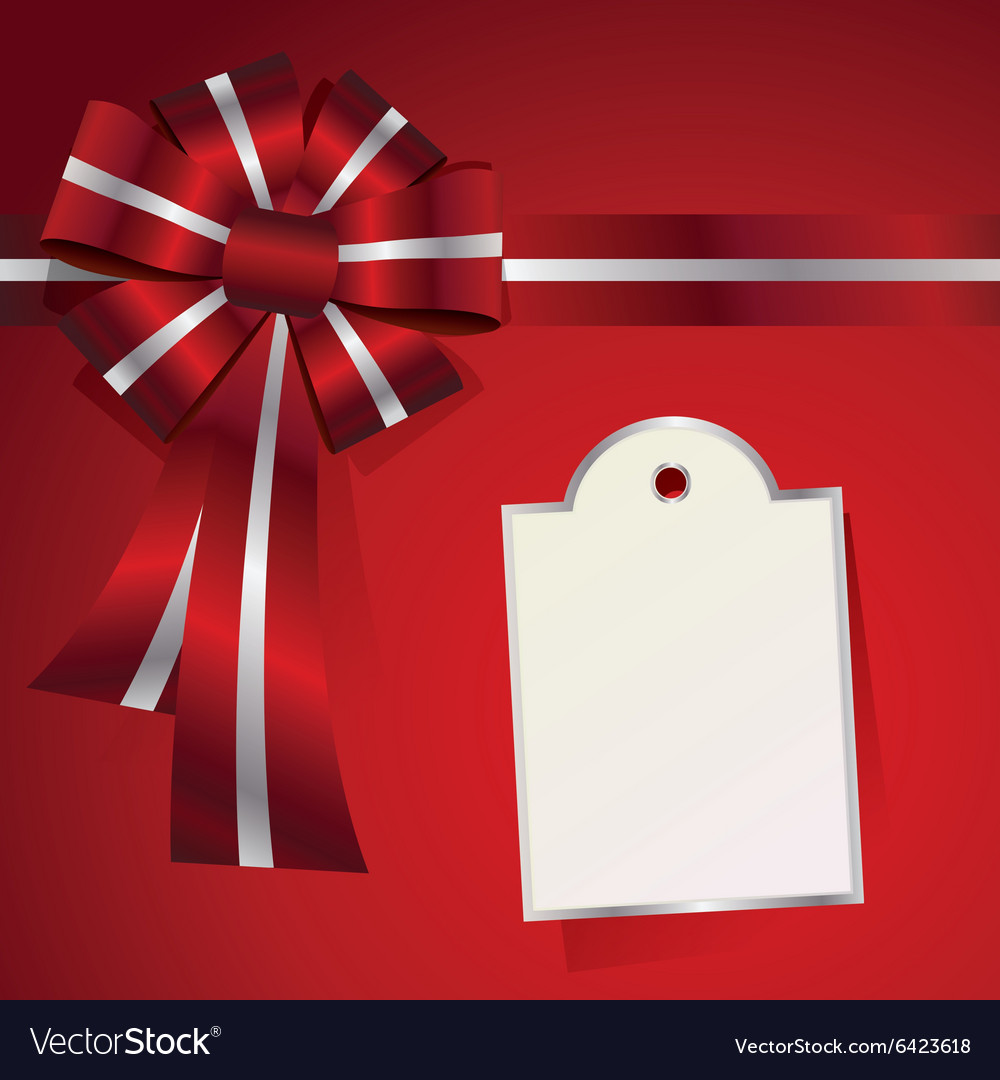 Christmas Package Message Label and Bow vector image