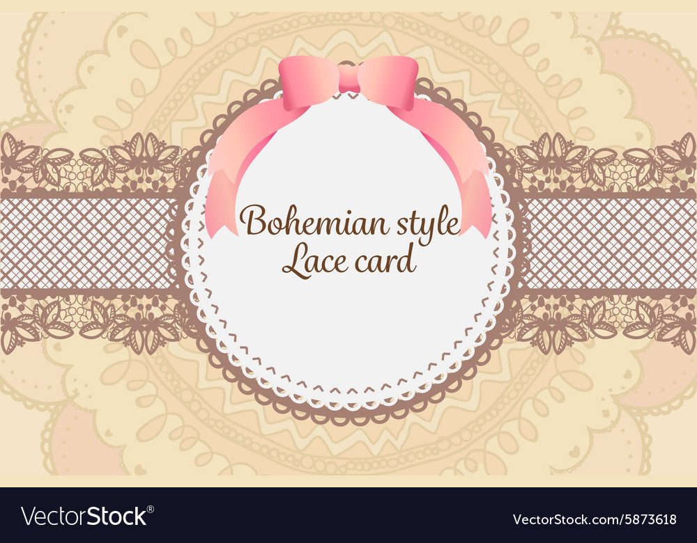 Cute elegant vintage bohemian lace card background vector image