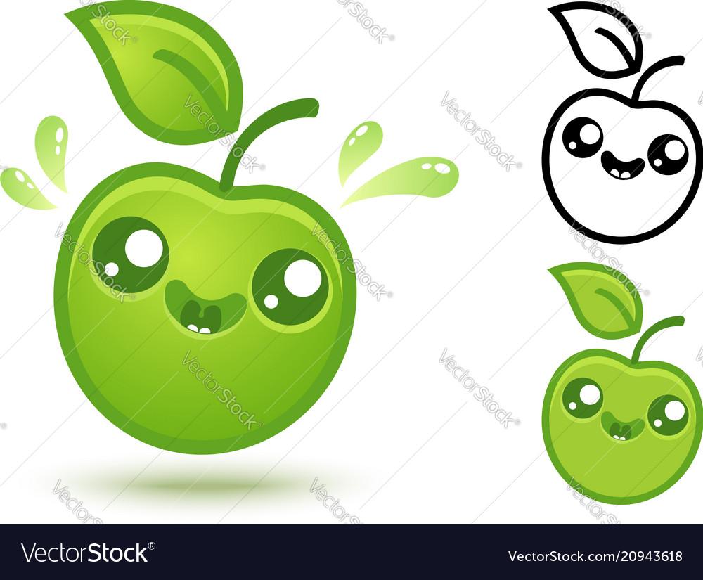 Cute green apple