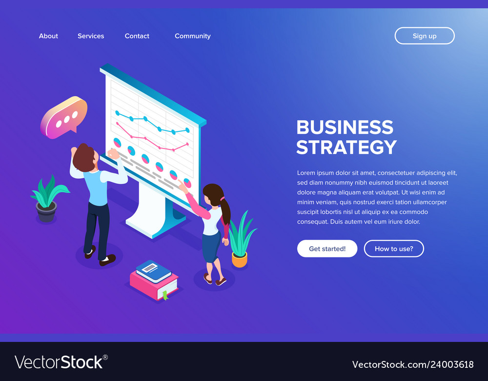 Isometric grown or business strategy concept