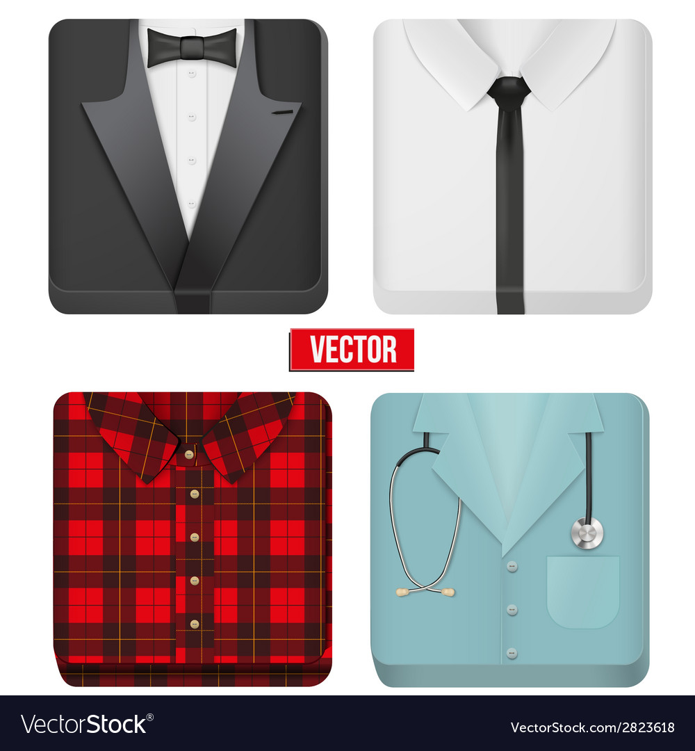 Premium Icons white shirt tuxedo doctor and vector image