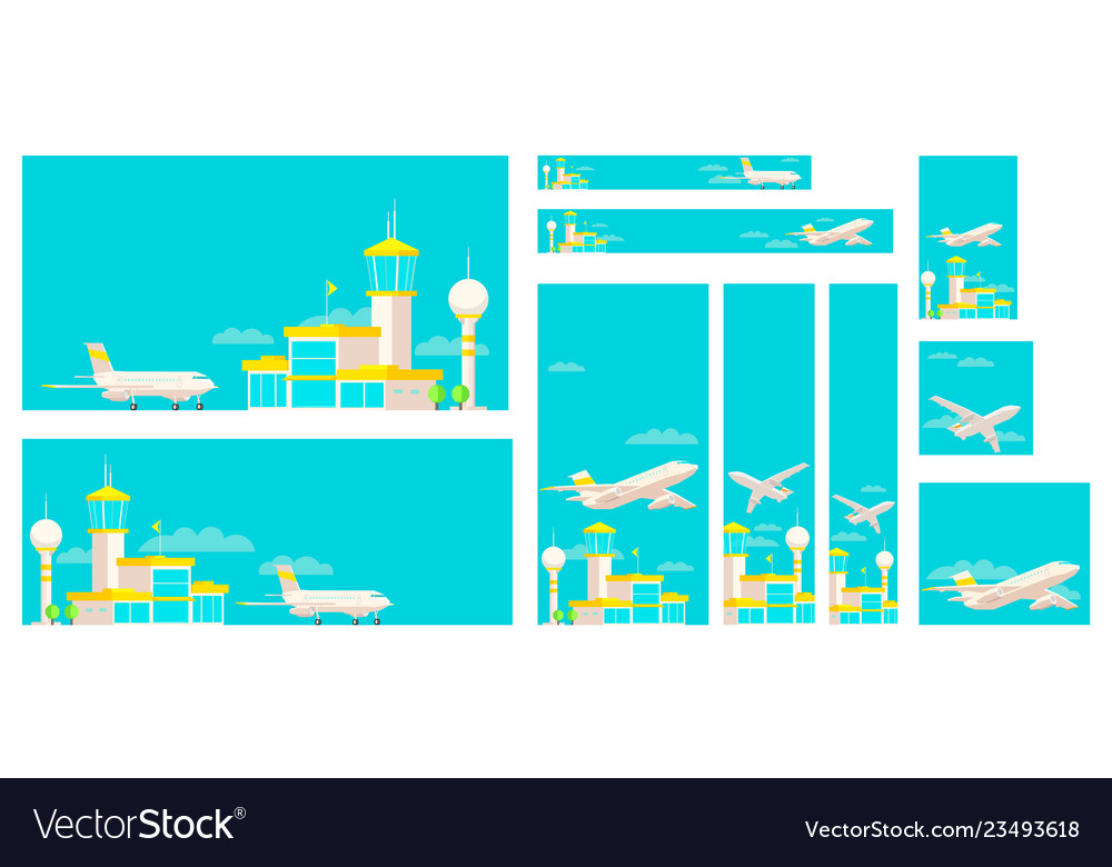 Set of banners airport terminal building and