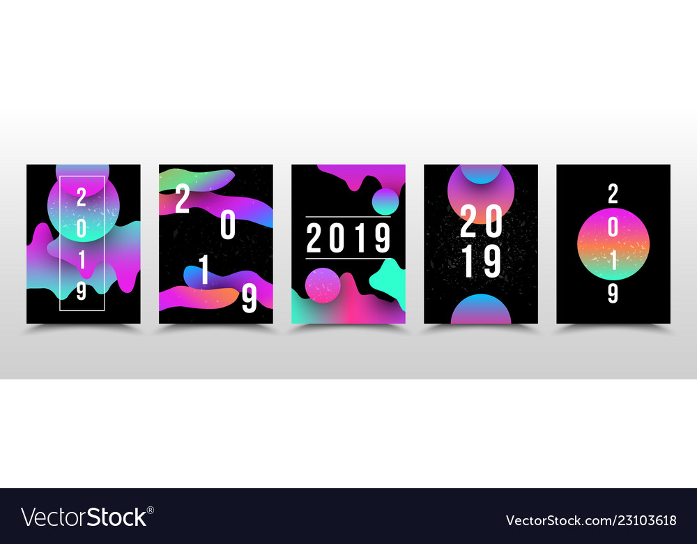 Set of liquid 2019 page template for calendar