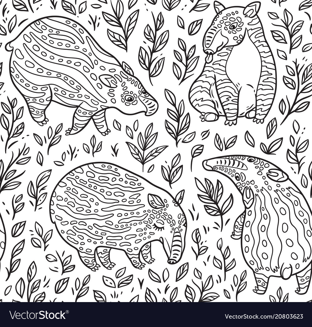 Black and white cartoon tapirs seamless pattern