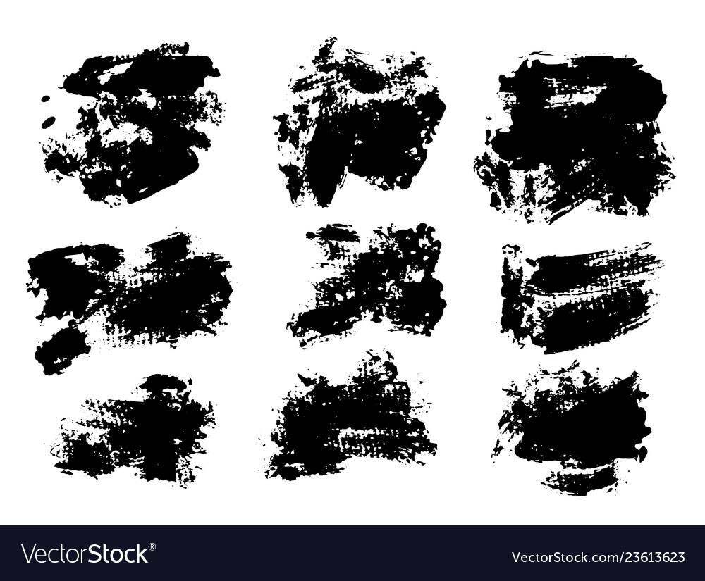 Black ink grunge brush set strokes on white