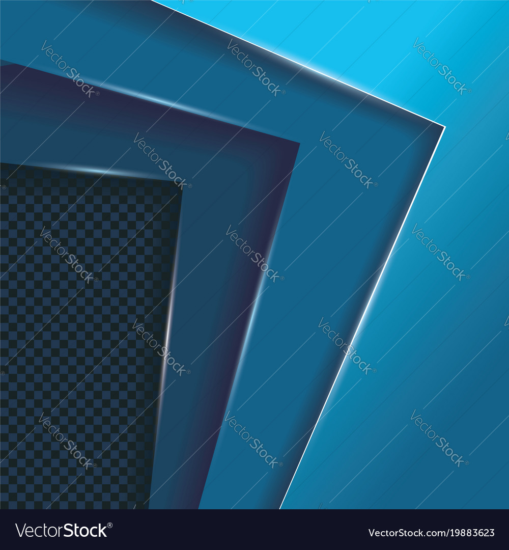 Blue layers overlap background with space for vector image