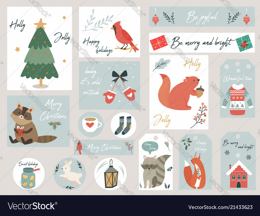 Christmas set hand drawn animals and elements