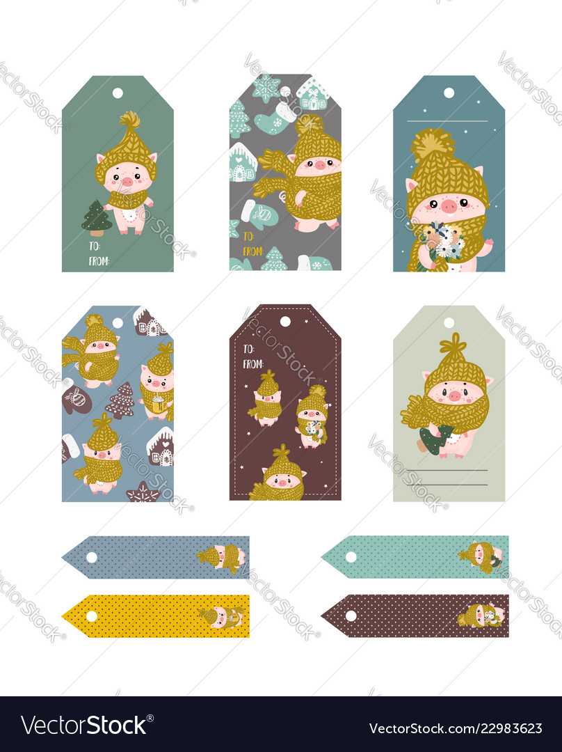 Christmas tags cute collection labels with funny
