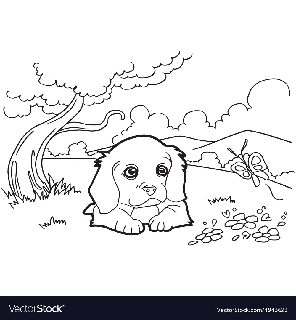 Coloring book with dog Royalty Free Vector Image