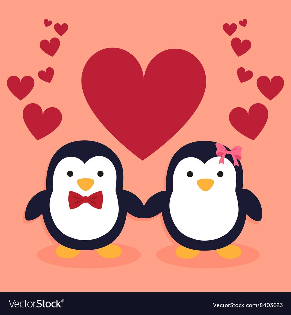 Cute Penguin Couple Cartoon Heart